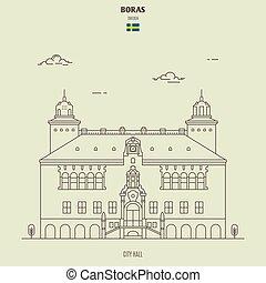 boras, sweden., repère, hôtel ville, icône