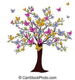 borboleta, árvore