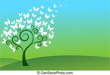 borboleta, árvore verde