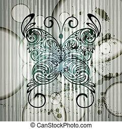 borboleta, 10, círculos, vindima, eps, listras, vetorial, fundo, grungy