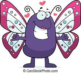 borboleta, abraço, caricatura