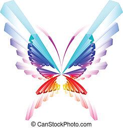 borboleta, abstratos, coloridos