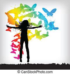borboleta, abstratos, coloridos, fundo