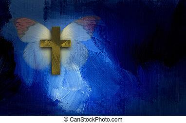 borboleta, abstratos, crucifixos, asas