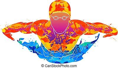 borboleta, abstratos, respingo, aquarelas, nadador