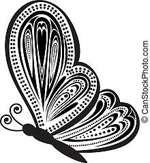 borboleta, abstratos, vetorial, ilustração