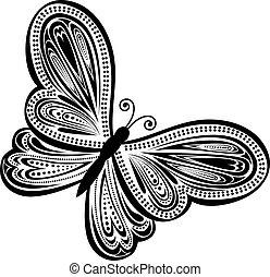 borboleta, abstratos, vetorial