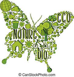borboleta, ambiental, verde, ícones