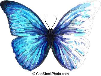 borboleta, aquarela, inacabado, morpho, imitation.,...