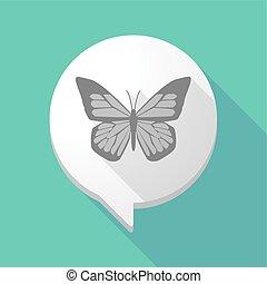 borboleta, balloon, cômico, sombra, longo