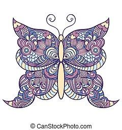 borboleta, branca, coloridos, fundo