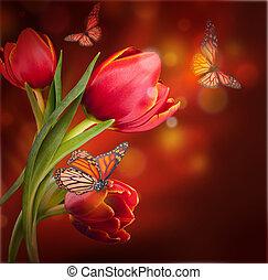 borboleta, buquet, tulips, contra, experiência escura, vermelho