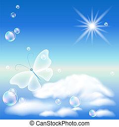 borboleta, céu