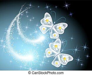 borboleta, céu, margarida