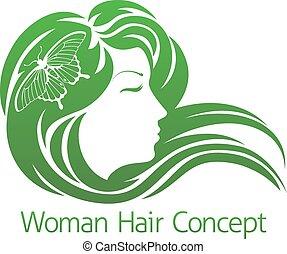 borboleta, cabelo, mulher, conceito