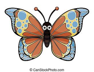 borboleta, caricatura, ilustração