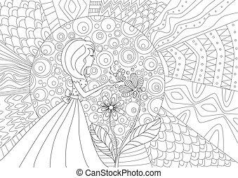 borboleta, coloração, padrão, abstratos, sun., menina bonita