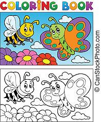 borboleta, coloração, tema, 2, livro