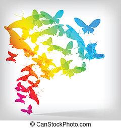 borboleta, coloridos, fundo