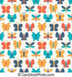borboleta, coloridos, padrão, seamless, silhuetas, vetorial, retro