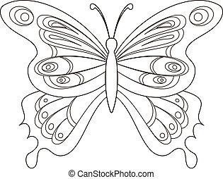borboleta, contornos