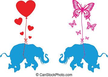 borboleta, corações, elefante