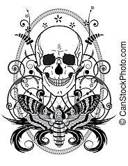 borboleta, cranio