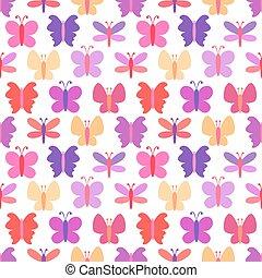 borboleta, cute, coloridos, padrão, seamless, silhuetas, vetorial