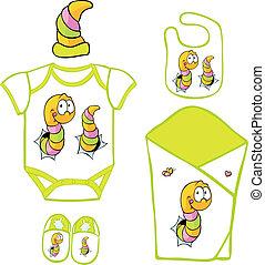 borboleta, cute, layette, -, ilustração, lagarta, vetorial, bebê