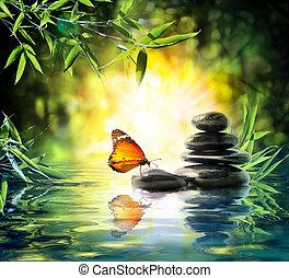 borboleta, delicado, conceito, -