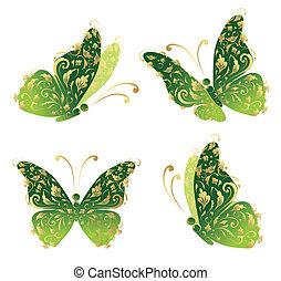 borboleta, dourado, arte, voando, ornamento, verde, floral