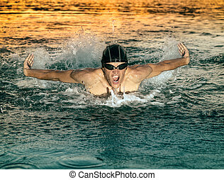 borboleta, durante, respirar, nadador, natação