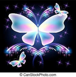borboleta, e, glowing, saudação