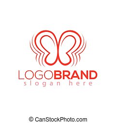borboleta, efeito, vetorial, modelo, logotipo, element.