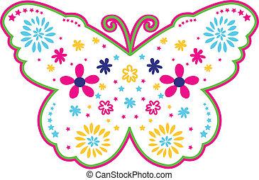 borboleta, encantador, flor, ilustração