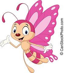 borboleta, engraçado, caricatura