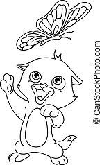 borboleta, esboçado, gatinho