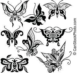 borboleta, fantasia, ilustração