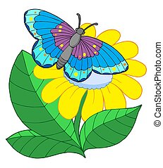 borboleta, flor, amarela
