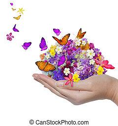 borboleta, flor, derramamento, muitos, segura, mão, flores