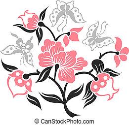 borboleta, flor, ilustração