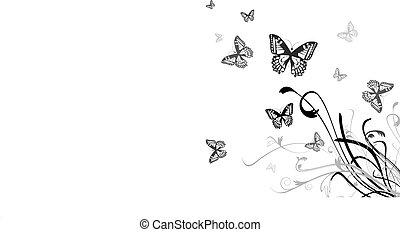 borboleta, floral, fundo