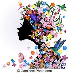 borboleta, floral, menina, pássaro, penteado