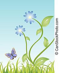 borboleta, flores