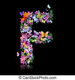 borboleta, flores, letra
