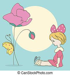 borboleta, flores, menina, fundo