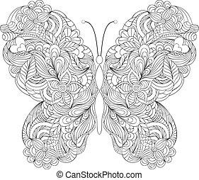 borboleta, fundo, branca