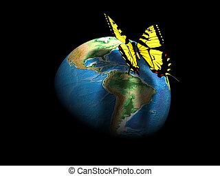 borboleta, globo terra