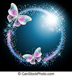 borboleta, glowing, fogo artifício