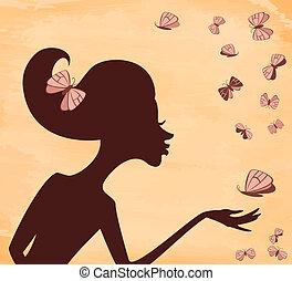 borboleta, grunge, menina, silueta, fundo
